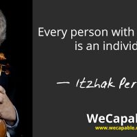 "This is a banner image showing Itzhak Perlman quote ""Every person with a disability is an individual."""