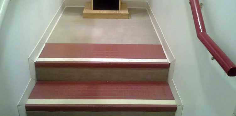 high contrast strips at edge of steps for house adaptations for blind