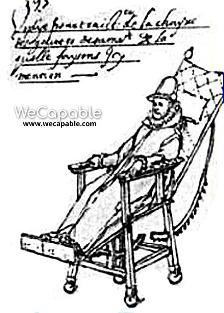 Drawing of the Wheelchair of King Phillip II of Spain