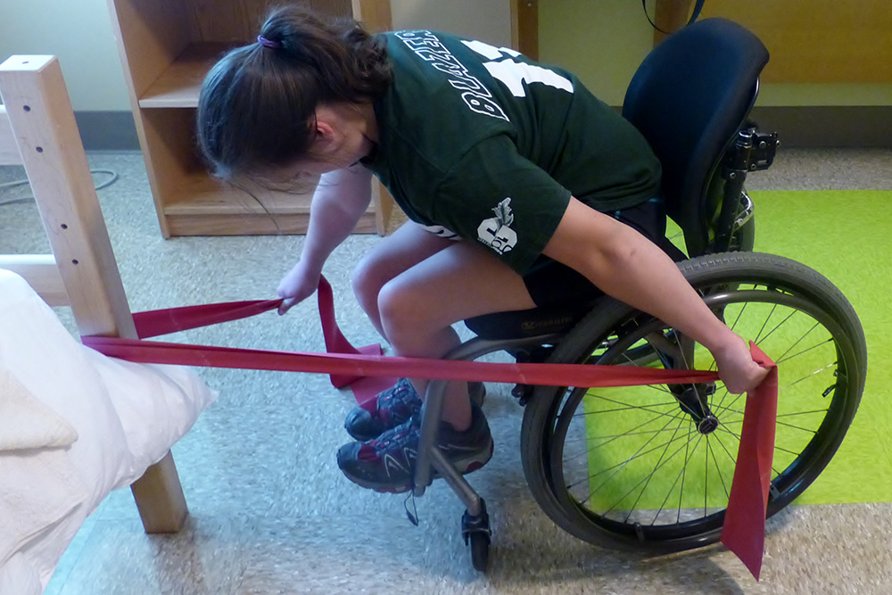 Resistance training exercise on wheelchair