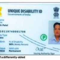 unique disability id (udid) card of a person.