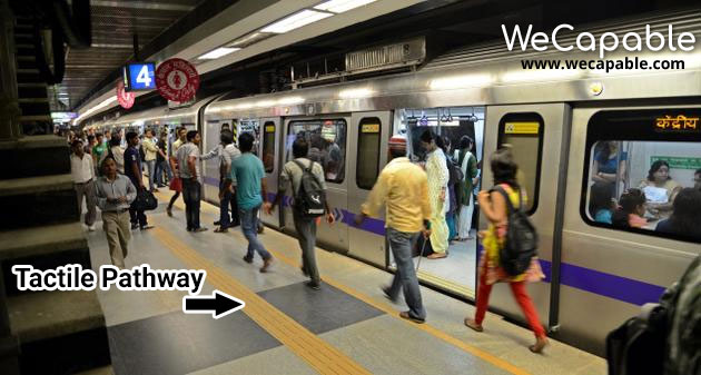 Delhi Metro Accessibility: Tactile pathway for blind people