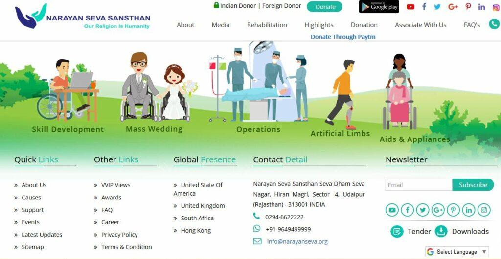 narayan seva sansthan website