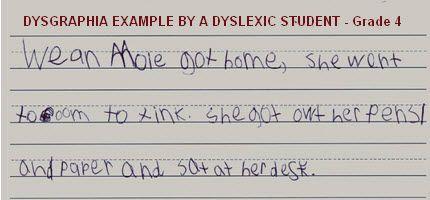 dysgraphia example