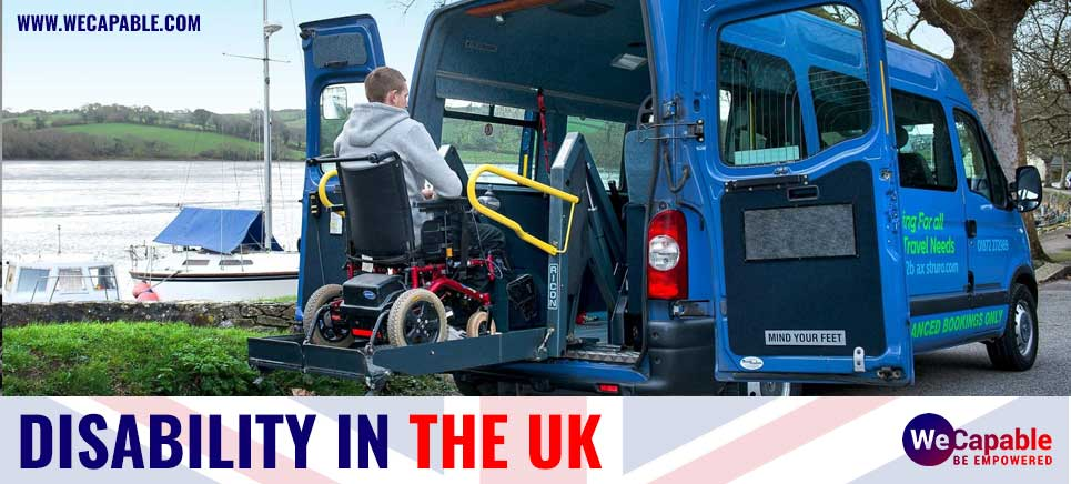 Disability in the United Kingdom (UK). A wheelchair user is getting inside a vehicle using a hydraulic lift.