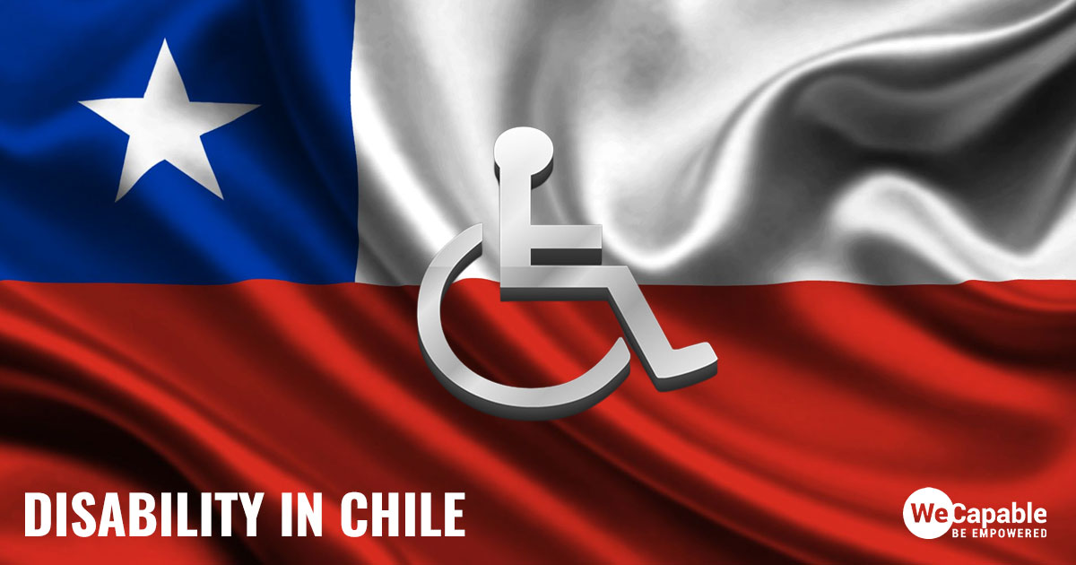 Disability in Chile: the image shows a wheelchair sign on top of Chile flag.