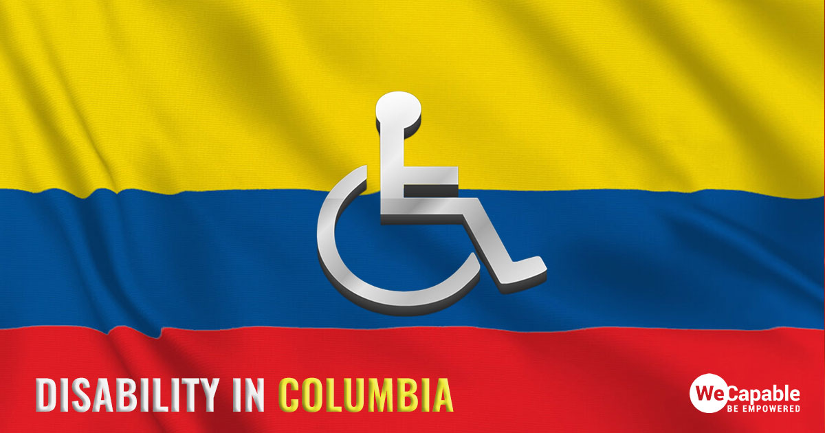 Disability in Columbia: a wheelchair icon on top of the Colombian flag.