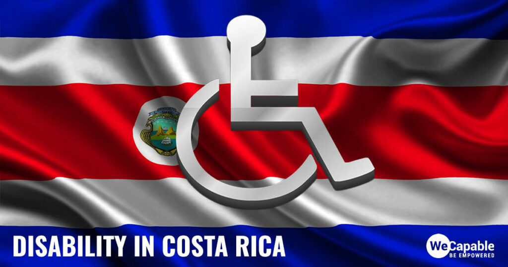 Disability in Costa Rica: Image shows a wheelchair sign on top of the Costa Rica flag.