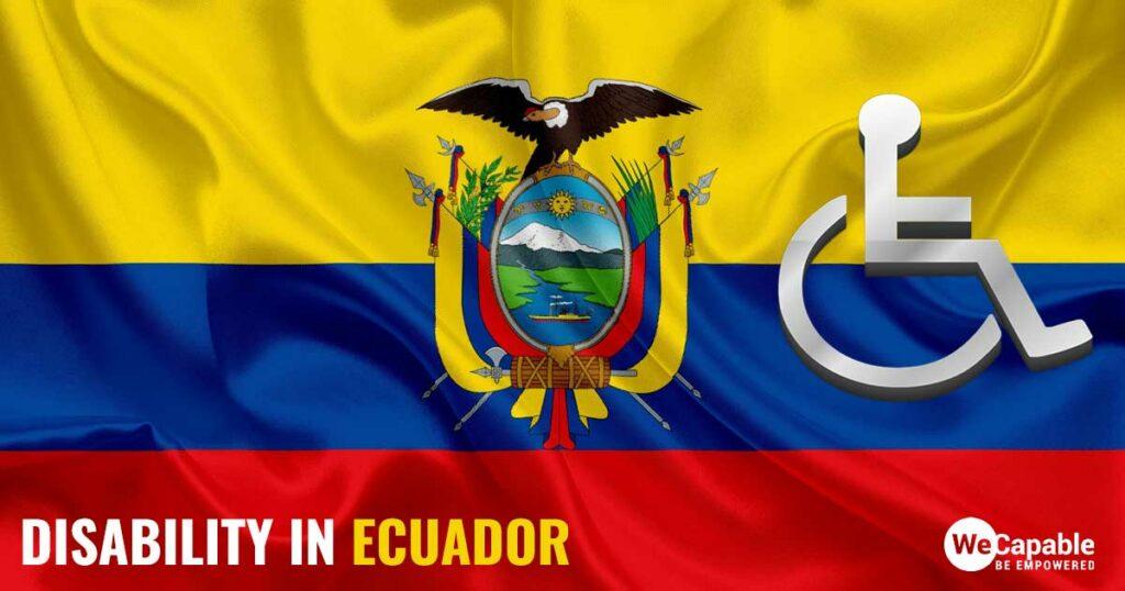 Disability in Ecuador: Image shows a wheelchair sign on top of the Ecuador flag.