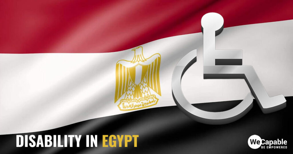 disability in Egypt: wheelchair icon on top of Egyptian flag