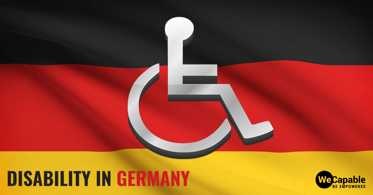 disability in germany: the image shows a wheelchair icon over German flag