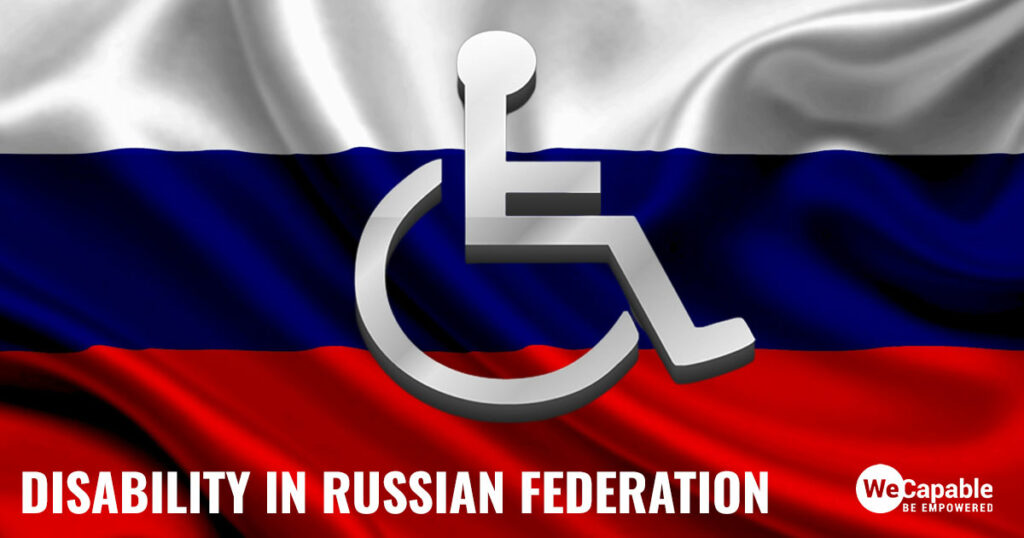 disability in Russia: A wheelchair icon on top of the Russian Federation flag