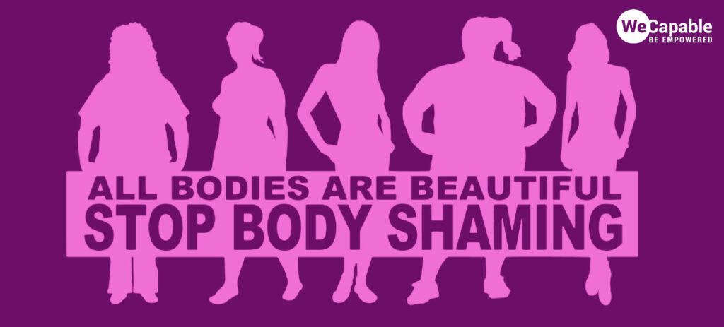 silhouette of various woman body types and a message that all bodies are beautiful and stop body shaming