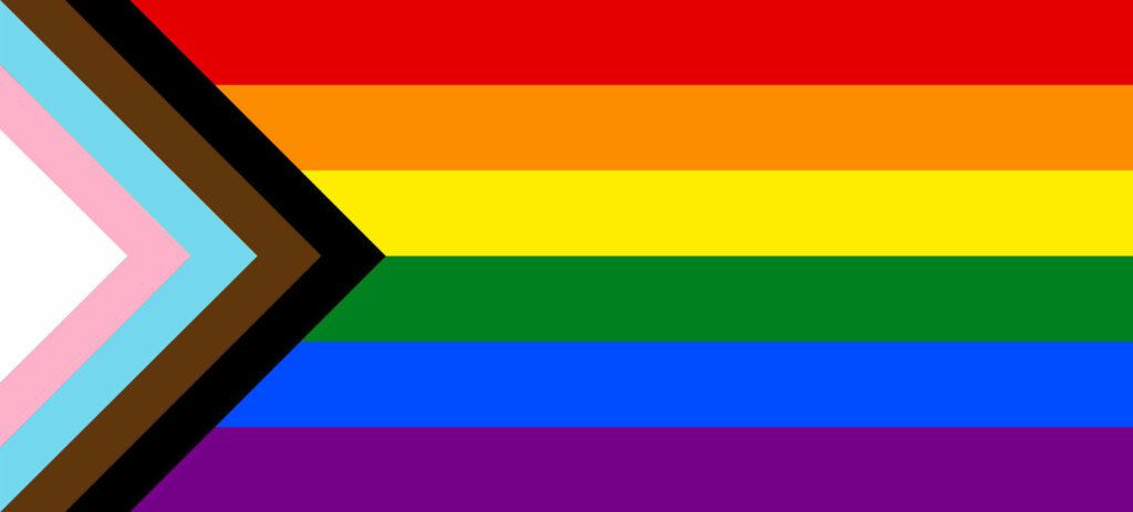 progressive rainbow flag of lgbtqi community
