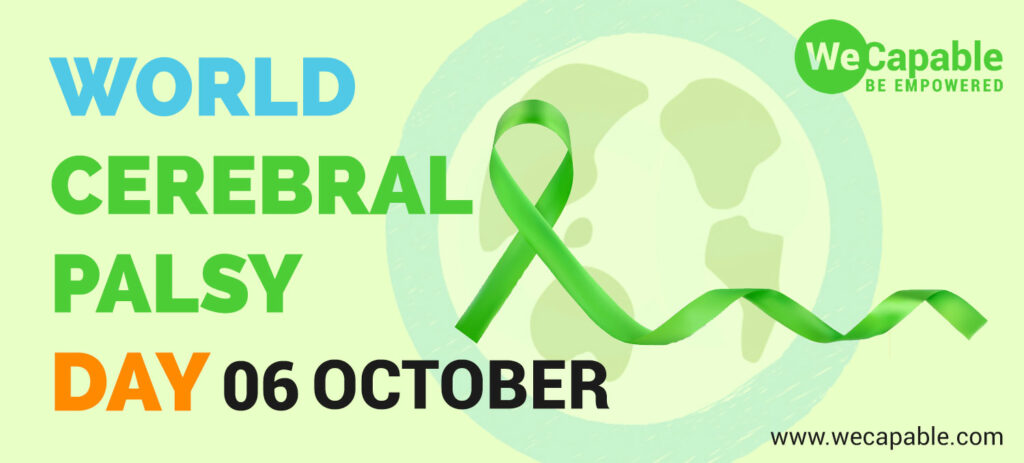 banner image for world cerebral palsy day showing green ribbon
